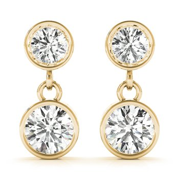 Natural Diamond OR Lab-Grown Diamond Round Shaped Bezel Set Dangle Drop Earrings Pair