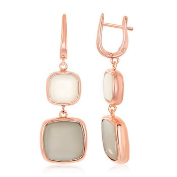 - Simona Sterling Silver 14k Rose Gold Plated Natural White and Light Gray Moonstone Dangle Drop Latchback Earring Pair