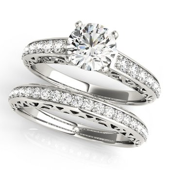- Round Accented Diamond Engagement Ring and Wedding Band Set