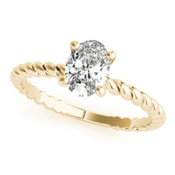 Solitaire Oval Diamond Twisted Rope Design Engagement Ring