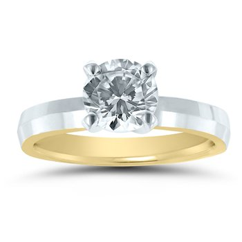 - Semi-Mount Round Solitaire INSIDE OUT Unique & Trending Low Dome Full Weight Engagement Ring
