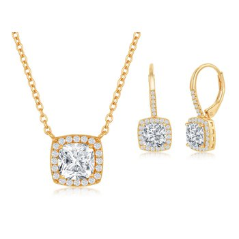 Sterling Silver Cushion Center and Round Sides CZ Halo Chain Necklace and Leverback Earrings Set