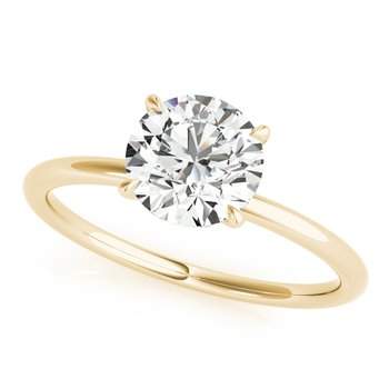 Solitaire Round Diamond Accented Engagement Ring
