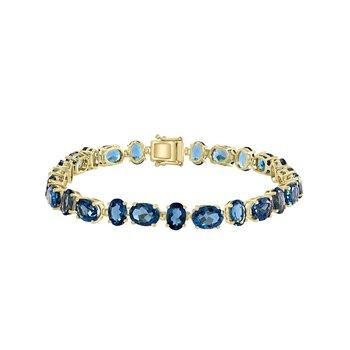 - 14k Yellow Gold 27.76Ctw. London Blue Topaz Gemstone Tennis Bracelet