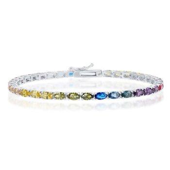 "- Sterling Silver Multi-Color Rainbow Oval CZ Tennis Bracelet - 7.50"""