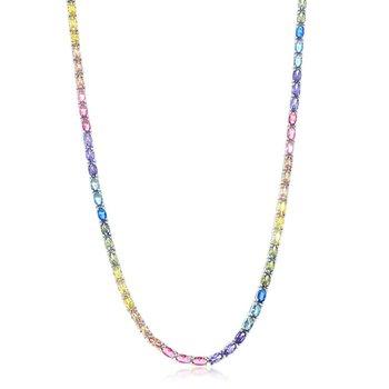 "- Sterling Silver Multi-Color Rainbow Oval CZ Tennis Neckalce - 18"""
