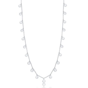 Sterling Silver Linked Cubic Zirconia Station Chain Necklace