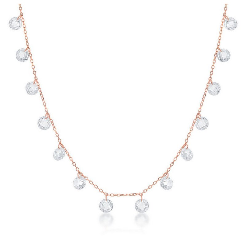 Fashion Jewelry Collection Sterling Silver Linked Cubic Zirconia Station Chain Necklace