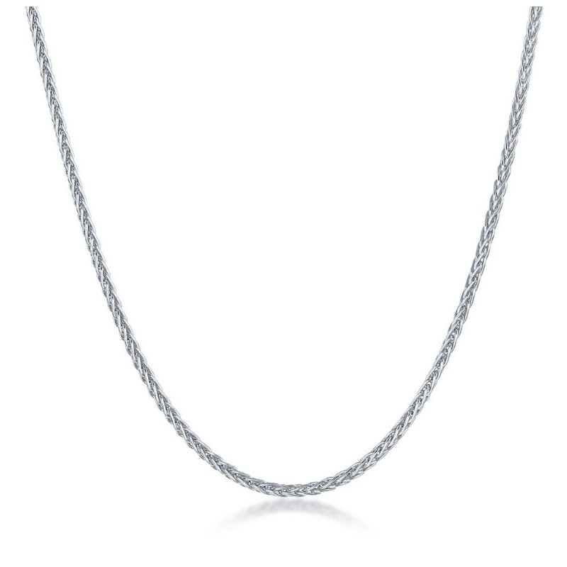"""Fashion Jewelry Collection Sterling Silver 1mm Spiga-Wheat Adjustable Chain Necklace (14"""" to 22"""")"""