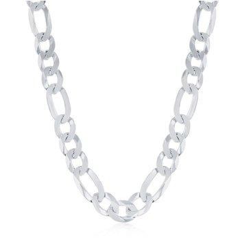 - Sterling Silver 7.5mm Figaro Chain Bracelet/Necklace for Men