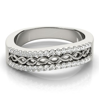 - 0.25ctw. Diamond Double Row Anniversary Infinity Right Hand Band Ring