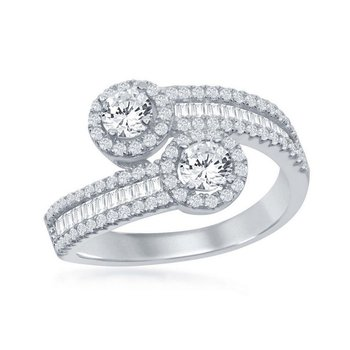 Sterling Silver 2-Stone Round Halo and Half Baguette CZ Overlapping Band Ring