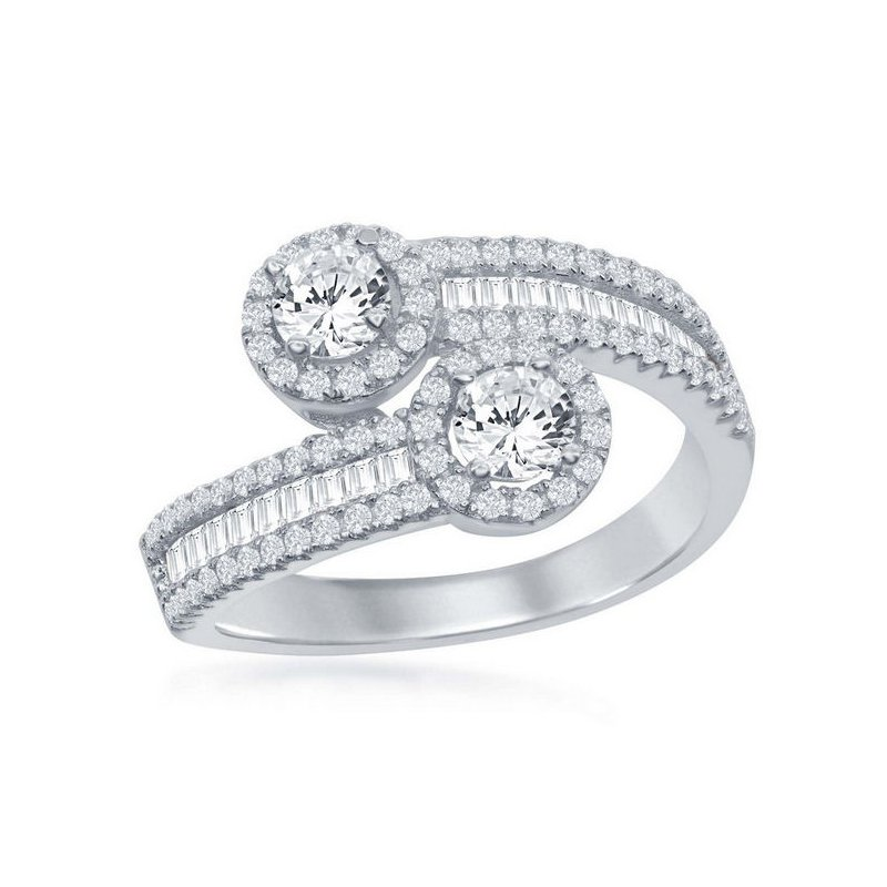 Fashion Jewelry Collection  - Sterling Silver 2-Stone Round Halo and Half Baguette CZ Stones Overlapping Band Ring