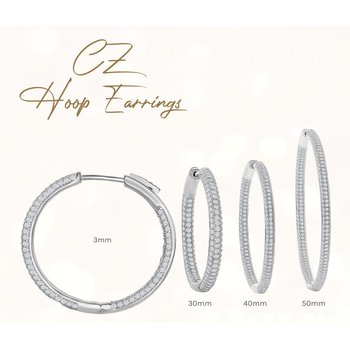 Sterling Silver 3mm Wide Inside-Out and Edge Micro-Pave CZ Hinged Hoop Earrings