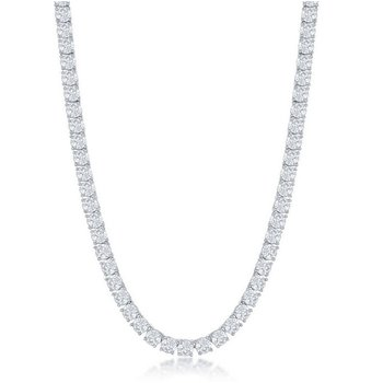 - Sterling Silver Set with 4mm Round CZ Stones Tennis Necklace - 17""