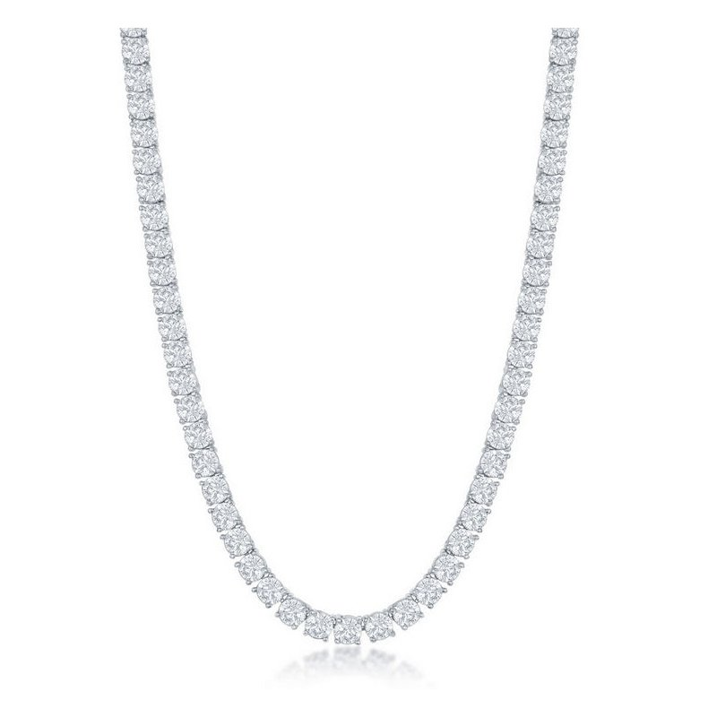 Fashion Jewelry Collection  - Sterling Silver Set with 4mm Round CZ Stones Tennis Necklace - 17""