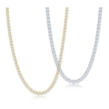 Sterling Silver 4mm Round Prong-Set CZ Tennis Necklace