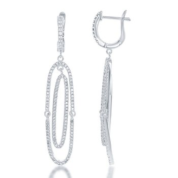 - Bellissima Sterling Silver White Topaz Gemstones Swivel Dangle Drop Bridal Earring Pair