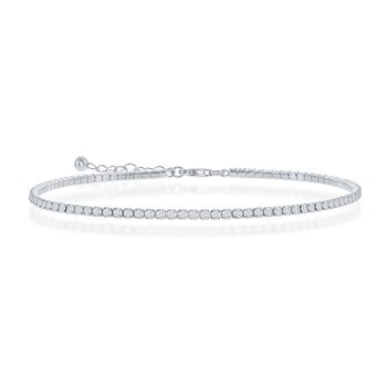 - Sterling Silver 2mm Round Cubic Zirconia Tennis Anklet - 9""