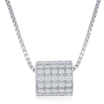 Sterling Silver Micro Pave CZ Rod Chain Necklace