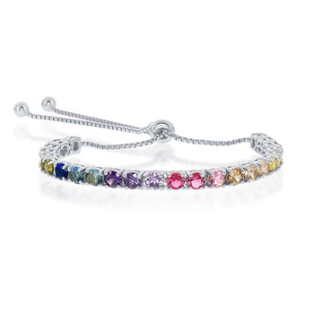 - Sterling Silver Multi-Color Rainbow Round CZ 4mm Adjustable Bolo Bracelet