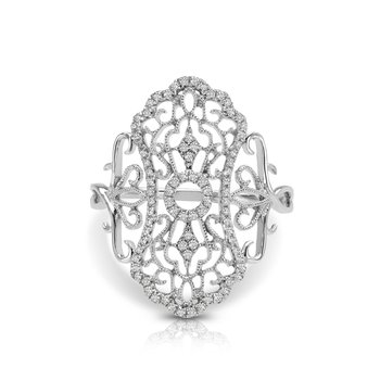1/5ct. Diamond 14k White Gold Vintage-Inspired Right Hand Ring