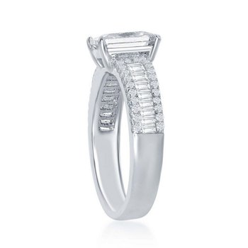 - Sterling Silver Center Set with Emerald Cut CZ and Accented with Baguettes and Round CZ Stones Engagement Ring