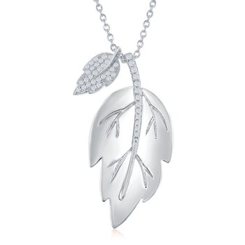 Sterling Silver Shiny Leaf with Smaller Micro Pave CZ Leaf Chain Necklace