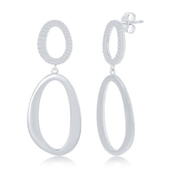 Sterling Silver Micro Pave CZ and High Polish Double Oval Dangle/Drop Earrings