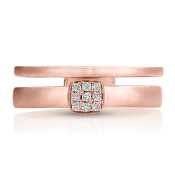 - 1/15ct. Diamond 14k Rose Gold Double Ring Design Matt Finish Right Hand Ring Band
