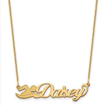 "14k Gold Personalized Name Symbol with 18""x1mm Chain Necklace"