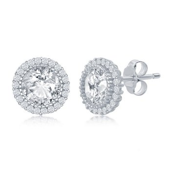 - Sterling Silver Round CZ Stones Halo Necklace and Earrings Set