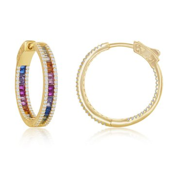 Sterling Silver Multi-Color Rainbow Square CZ Inside/Out Hinged Hoop Earring Pair
