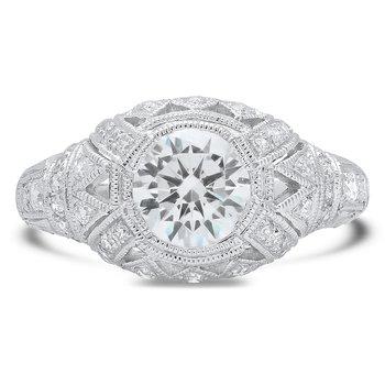 - Vintage Style Diamond Semi-Mount Engagement Ring