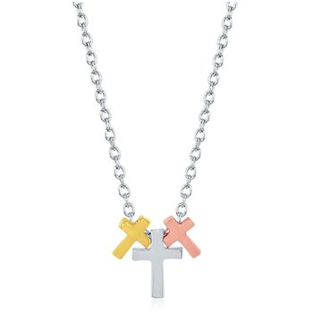 Sterling Silver Tri-color 14k Gold Plated Triple Cross Chain Necklace