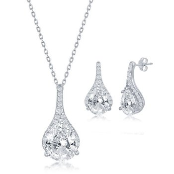 Sterling Silver Pear and Round CZ Pendant Chain Necklace and Earrings Set