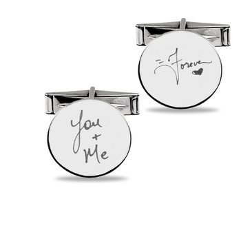 - Sterling Silver Photo Enamel 20mm Customized Engravable Cuff Links