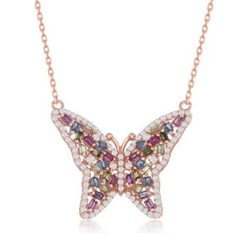 Sterling Silver Baguette Pink & Blue & Golden CZ Butterfly Chain Necklace