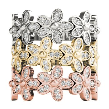 1/4ctw. Diamond Anniversary Wedding Stackable Floral Ring Band