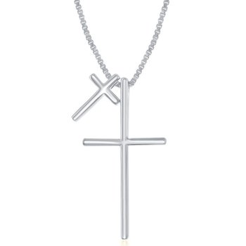 Sterling Silver Two Cross Chain Necklace