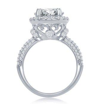 Sterling Silver Crown Set Round CZ Accented Micro Pave CZ Halo Engagement Ring