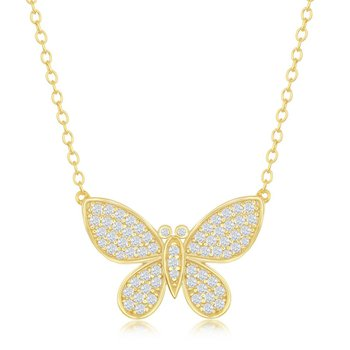 Sterling Silver Micro Pave CZ Butterfly Chain Necklace