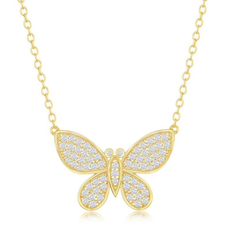 Fashion Jewelry Collection Sterling Silver Micro Pave CZ Butterfly Chain Necklace