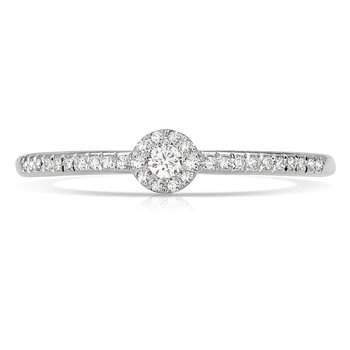 1/8ct. Diamond 14k White Gold Halo Right Hand Band Ring