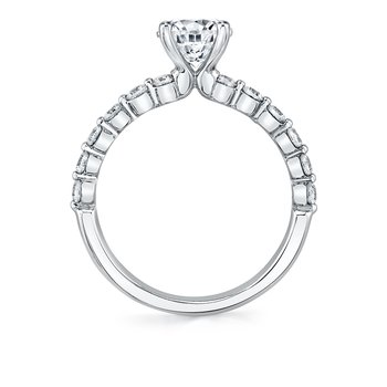 - Solitaire Round Diamond Accented Semi-Mount Engagement Ring