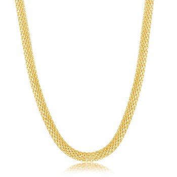 """- Sterling Silver 5mm Flat Mesh Adjustable Chain Necklace - 17"""""""