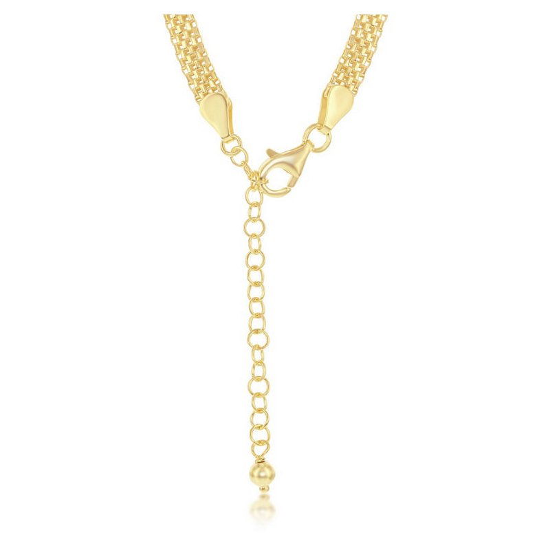 """Fashion Jewelry Collection  - Sterling Silver 5mm Flat Mesh Adjustable Chain Necklace - 17"""""""