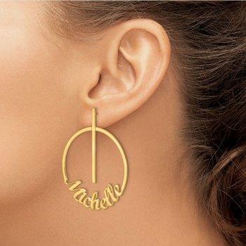 14k Gold Personalized Circle Name Dangle/Drop Post Earrings