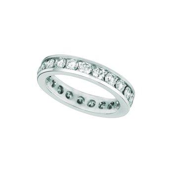 14K White Gold Diamond Eternity Channel-Set Anniversary Wedding Band