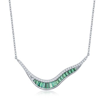 Sterling Silver 'V' Shape White Round CZ and Green Baguette CZ Chain Necklace